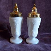 Milk Glass and Gold Tone Salt and Pepper Shakers