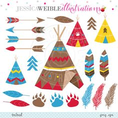 Tribal Cute Clipart TeePee Graphics Tribal Clip by JWIllustrations