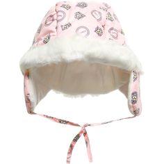 Baby Girls Pink Padded Earflap Hat, Kenzo, Girl