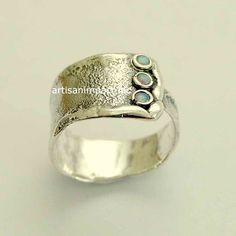 sterling silver ring opals gemstone ring unisex by silvercrush