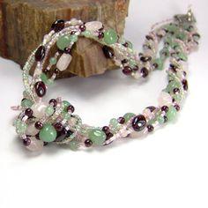 Multistrand Gemstone Necklace Rose Quartz  by AnandaBijoux on Etsy, $155.00