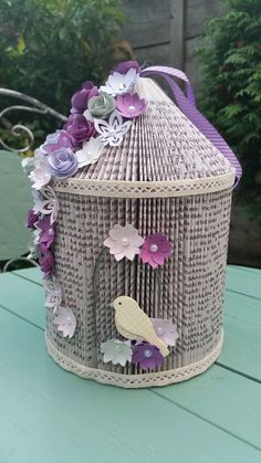 How to make a Birdcage from a Paperback Book. Hello Everyone.Time for another tutorial I think.Today I'll be showing you how to make a Birdcage from a paperback book.Cornerhouse 115 is a family business an Old Book Art, Old Book Crafts, Book Page Crafts, Book Page Art, Paper Book, Paper Art, Paper Crafts, Bird Crafts, Cut Paper