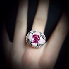 Scavia anello con opale rosa diamanti e zaffiro rosa
