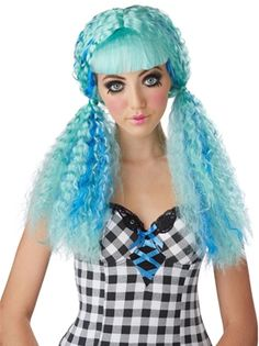 Turquoise Crimped Doll Wig by Fancy Dress Ball
