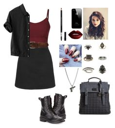 """Red and black"" by avengersgirl3 ❤ liked on Polyvore featuring Topshop, Christian Dior, Bed