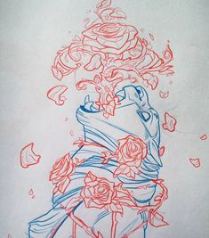 Waay Better photo of this blue and red colerase sketch on paper  draw from last year :) ..instagram blurred it tho x.x#art #illustration #drawing #sketch #traditionalart #2d #cat #bigcats #roses by evanakisa