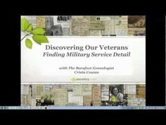 Discovering Our Veterans - Finding Military Service Details  Join Crista to learn about military records available on http://Ancestry.com, how to find them and what they tell you. She will also show you how to create a military memorial page for your veteran ancestors. #genealogy