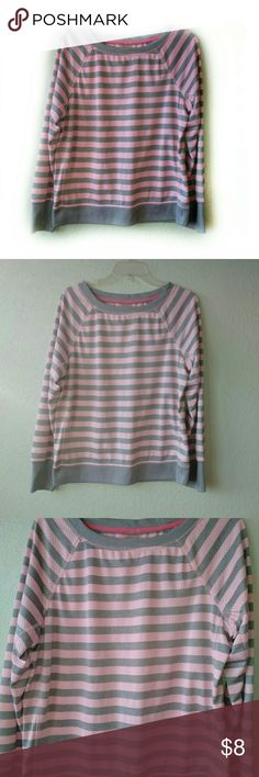 """Xersion Active Wear Pink Gray Stripes.  Long Sleeve.  Chest is 22"""" across in the flat position. Xersion Tops"""