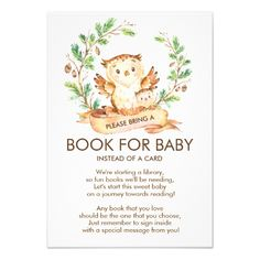 Woodland Owl Baby Shower Book for Baby Card - shower gifts diy customize creative Custom Baby Shower Invitations, Baby Shower Invitation Cards, Rustic Invitations, Boy Baby Shower Themes, Baby Boy Shower, Baby Shower Gifts, Baby Showers, Owl Shower, Baby Favors
