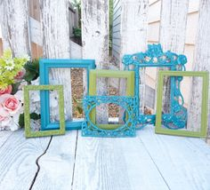Hey, I found this really awesome Etsy listing at https://www.etsy.com/listing/156380543/turquoise-and-lime-painted-frames-set-of