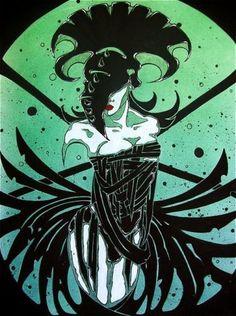 Goth-voodoo-priestess-in-corset-comic-FANTASY-ART-ebsq-11x14