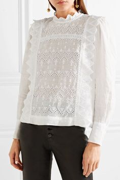 27 Broderie Anglaise Pieces To Buy Now Long Tops, Long Sleeve Tops, Neutral Blouses, Creation Couture, White Outfits, Isabel Marant, Dress To Impress, Buy Now, Knitwear