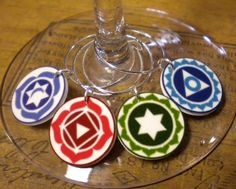 8 Chakra Symbol Wine Charms 'Your Wine Glasses deserve COOL SASSY JEWELRY' For Yoga Tantric Followers