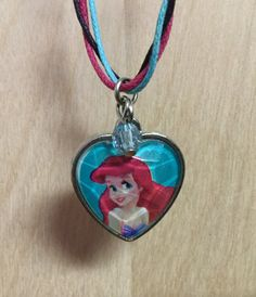 Disney Princess Ariel Charm Pendant Necklace on a Long 32 inch Braided Cord by RevealedTreasuresByL on Etsy