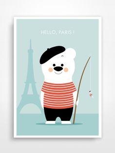 Affiche vintage pour chambre d'enfant * Hello, Paris. : Décoration pour enfants par pagaille-et-cie