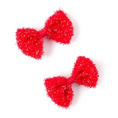 Red Tinsel Bow Hair Clips Set of 2 | Claire's