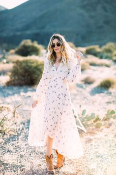 bf3f24b1199b35 Caitlin Lindquist of Dash of Darling styles a romantic feminine Christy  Dawn dress with Tecovas cowgirl