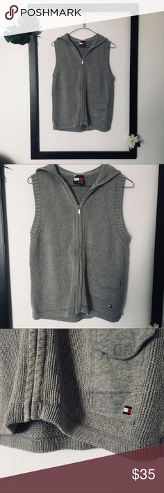 VTG Tommy Hilfiger Grey Crocheted Hooded Vest VTG Tommy Hilfiger Grey Crocheted Hooded Vest in amazing condition for its age. Soft material, not stiff. Tommy Hilfiger Jackets & Coats Vests
