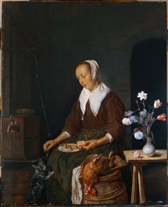 Vrouw aan de maaltijd, bekend als 'Het ontbijt van de kat'