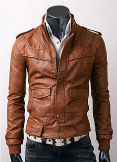 Slim-fit light brown Leather Jacket  Jacket Features:  Outfit type: Leather Jacket  Gender: Male  Color: Brown  Front: Front Zip Closure  Collar: Zipped Collar  Lining: Viscose Lining  Pockets: Fourpockets