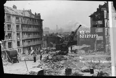 The wreckage of council flats known as Hughes Mansions in Vallance Road Stepney after a V2 rocket attack on the 27th March 1945, in which 134 people died. The weapon used in the attack was the last bomb of the war to fall on London.
