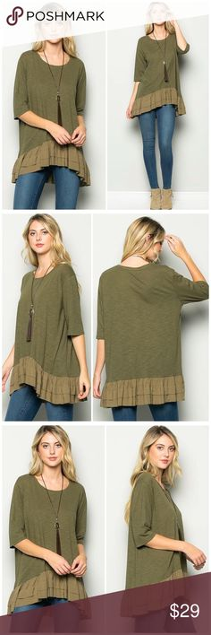Olive Contrast Ruffle Detail Trim Tunic Top Olive Contrast Ruffle Detail Trim Top  Fabric:  65% Cotton 35% Polyester  True to size bchic_boutique Tops Tunics