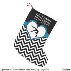 Gymnastics Chevron Heart with Monogram in Black Small Christmas Stocking