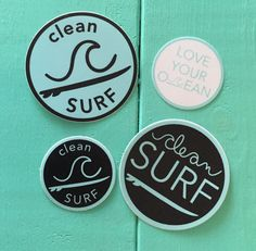"""The Clean Surf sticker pack includes: - Qty 2 - 3"""" Stickers - Qty 2 - 2""""…"""