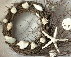 DIY Grapevine Wreaths with Seashells -Easy to Make!         Here are 8 beautiful DIY grapevine wreaths with seashells! These wreaths are so easy to make because the base already looks great; rustic and naturey.