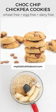 Healthy Cookies For Kids, Healthy Chocolate Chip Cookies, Healthy Cookie Recipes, Healthy Meals For Kids, Healthy Sweets, Vegan Recipes Easy, Healthy Baking, Baby Food Recipes, Family Recipes