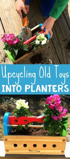Make gardening with kids fun by upcycling old, beloved toys into flower planters! Repurposing toys into planters is a great way to hold onto favorite toys are broken, missing parts, or no longer get played with. Have your children express their independence and take on the responsibility of caring for their own repurposed toy planter!