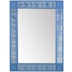 Florence Broadhurst Mayfair Circles & Squares mirror. 29x38.   Available in Blue or White lacquered  Mahogany. $928 retail