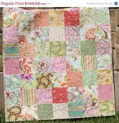 SALE Paisley Baby Quilt Girl Nursery Bedding Fresh Cut Pink. $134.10, via Etsy.