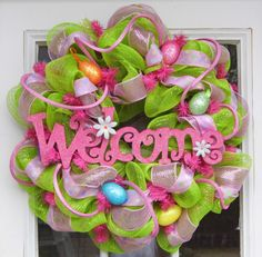 Welcome Spring Easter Wreath Mesh Eggs by HolidaysAreSpecial, $78.00