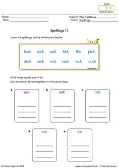 Literacy: Spellings 13   Worksheet   PrimaryLeap.co.uk Spelling Worksheets, Literacy Worksheets, Printable Worksheets, Printables, Year 1 English Worksheets, Free Worksheets For Kids, Primary Resources, Progress Report, High Frequency Words