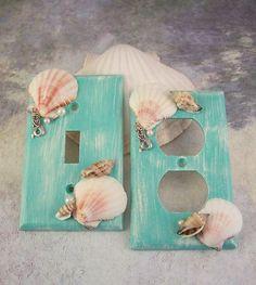 Mermaid Switchplates Mermaid Decor Mermaid Switch Plate Covers Mermaids Mermaid Bedroom Bathroom Mermaid Nursery Beach Home Decor Walls Seashell art Mermaid Bathroom Decor, Mermaid Bedroom, Beach Theme Bathroom, Beach Room, Beach Bathrooms, Mermaid Nursery Theme, Bathroom Sets, Bathroom Mirrors, Bathroom Faucets