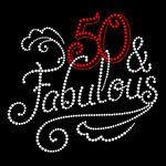 Fabulous 50 - 50th Birthday Rhinestone Hot fix Iron on bling transfer hotfix DIY appliqué motif design shirts tees t-shirts hotfix custom on Etsy, $14.99