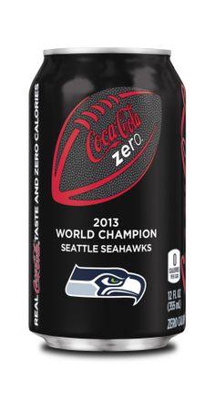 "Seahawk Coke Zero ""2013 World Champions"""