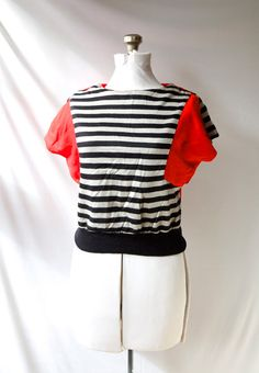 Vintage 80's Striped Shirt Crop Top by