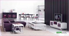 Salón moderno color lavanda