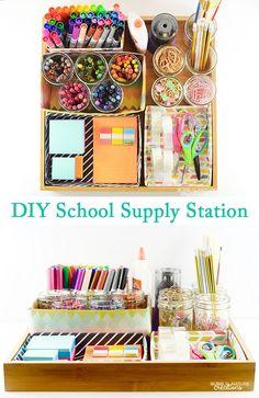 DIY School Supply Station! Easy way to organize all the school supplies!