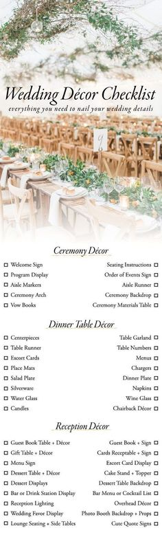 Use This Wedding Décor Checklist to Help You Nail Every Detail / http://www.deerpearlflowers.com/wedding-planning-infographics/4/ #weddingplanningchecklist #weddingplanninginfographic