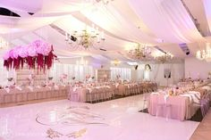 An Aleit Wedding at Val de Vie Polo Estate in the Cape Winelands. Elegant, Stylish, Classic - Flowers by Liezl Kotze Floral Art. Wedding Table, Wedding Reception, Reception Decorations, Table Decorations, Magenta Flowers, Event Management Company, Floor Stickers, Spring Blossom, Reception Areas