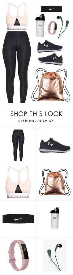 """Sporty Spice"" by megans-got-clothes ❤ liked on Polyvore featuring Under Armour, LOQI, NIKE, Everlast, Fitbit and Warner Bros."