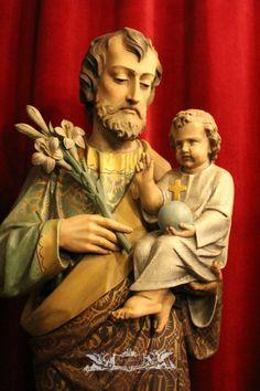 Joseph Statue With Child - Religious Church Statues I - Fluminalis St Joseph Statue, Saint Joseph, San Jose, Jesus Pictures, Catholic, Saints, Religion, Sculptures, Happy Tuesday