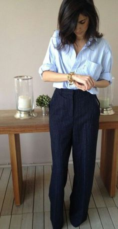 Menswear Inspired Pinstripes MAYBE I CAN GOODWILL CREATE THIS