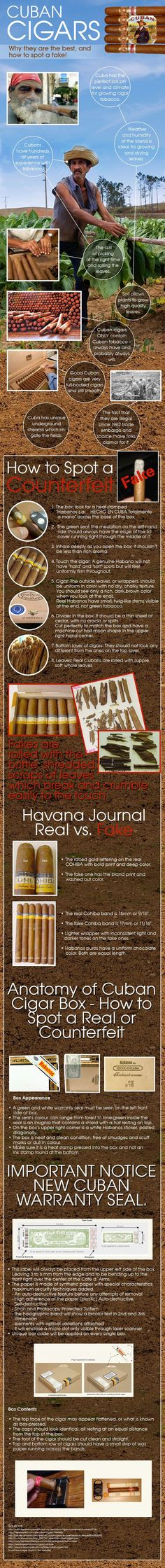 There is nothing like a good Cuban cigar. But how do you tell the difference from say Dominican and Cuban? This Infographic by Great Clubs & Cigar of the month club will show you how to spot a fake Cuban cigar. Whisky, Cigars And Whiskey, Cigar Art, Cigar Club, Cigar Humidor, Good Cigars, Pipes And Cigars, Up In Smoke, Cigar Smoking