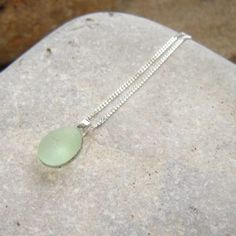 Tiny Green White Sea Glass Pendant