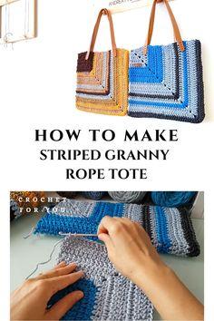 Pdf Pattern + Full Video Tutorial video ideas list video tutorials How to Make Striped Granny Rope Tote Crochet Bag Tutorials, Crochet Videos, Crochet Handbags, Crochet Purses, Crochet Stitches, Knit Crochet, Hippie Crochet, Knitting Patterns, Crochet Patterns