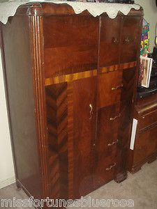 Vintage 1930 Art Deco Bedroom Waterfall Furniture Armoire Closet Wardrobe 1920 The one i have has a little mirror on the large door.